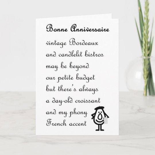 bonne anniversaire a funny anniversary poem card zazzle com