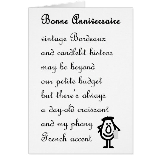 Bonne Anniversaire - A Funny Anniversary Poem Card
