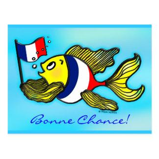 BONNE CHANCE French Flag Fish funny cartoon Postcard