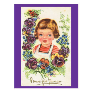 Bonne Fete Maman, Vintage French Mothers day Postcard