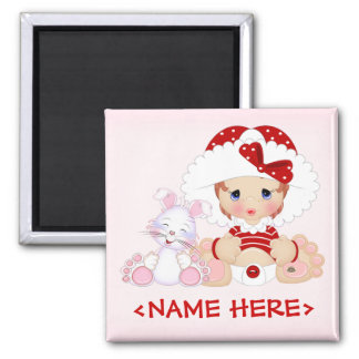 Bonnet Girl with Bunny 2 Inch Square Magnet