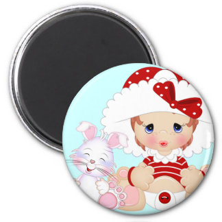 Bonnet Girl with Bunny Blue 2 Inch Round Magnet