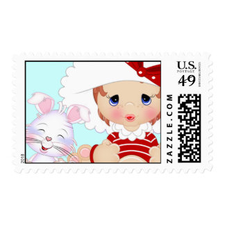Bonnet Girl with Bunny Blue Postage