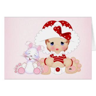 Bonnet Girl with Bunny Card