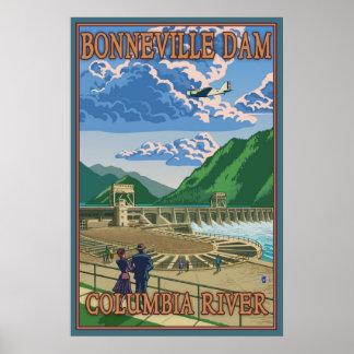 Bonneville Dam - Columbia River, OR Travel Poster
