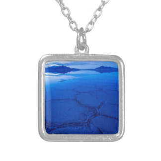 Bonneville Salt Flats In Winter - Utah Silver Plated Necklace