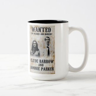 Bonnie and Clyde wANTED Two-Tone Coffee Mug