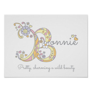 Bonnie B initial doodle art name meaning Poster