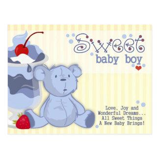 Bonnie Blue Bear Shower Invitation Post Card