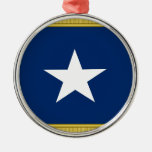 Bonnie Blue Flag First Texas Cofederate Volunteers Round Metal Christmas Ornament