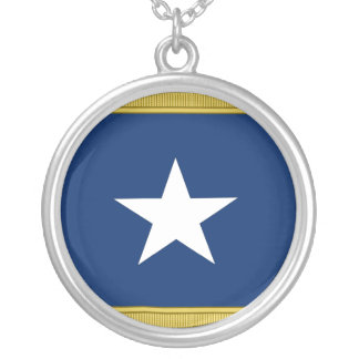 Bonnie Blue Flag First Texas Cofederate Volunteers Round Pendant Necklace
