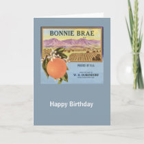 Bonnie Brae Oranges Fruit Crate Label