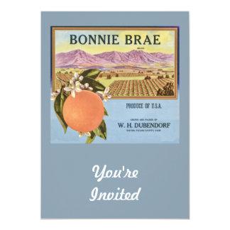 """Bonnie Brae Oranges Fruit Crate Label 5"""" X 7"""" Invitation Card"""