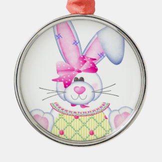 Bonnie Bunny Round Metal Christmas Ornament