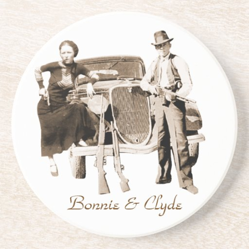 Bonnie & Clyde Drink Coaster