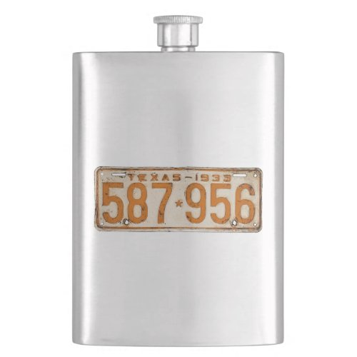 Bonnie & Clyde License Plate Hip Flask