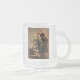Bonnie & Clyde 10 Oz Frosted Glass Coffee Mug