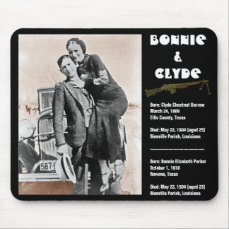 Bonnie & clyde (sepia) on black, Army_Heritage_... Mouse Pad