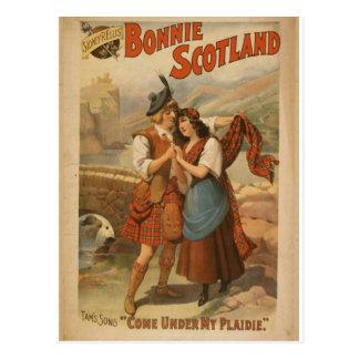 """Bonnie Escocia, """"viene debajo retro de mi Plaidie"""" Postal"""