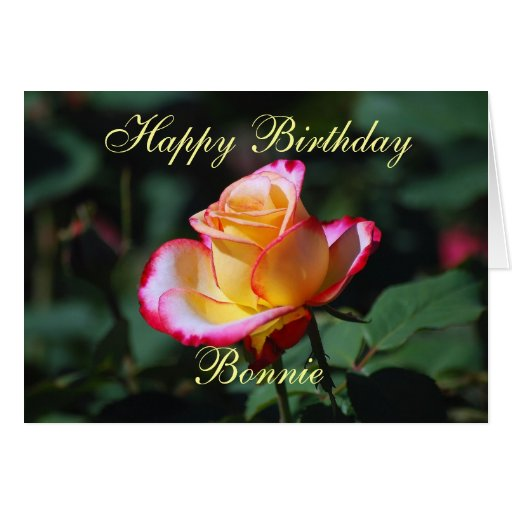 Bonnie Happy Birthday Red, Yellow and White Rose Card