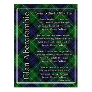 Bonnie Scotland I Adore Thee Abercrombie Tartan Postcard