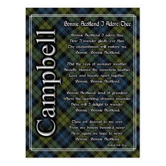 Bonnie Scotland I Adore Thee Campbell Tartan Postcard