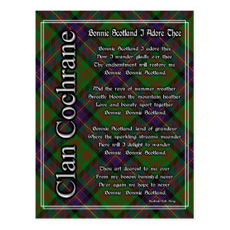 Bonnie Scotland I Adore Thee Clan Cochrane Tartan Postcard