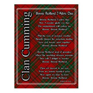 Bonnie Scotland I Adore Thee Clan Cumming Tartan Postcard