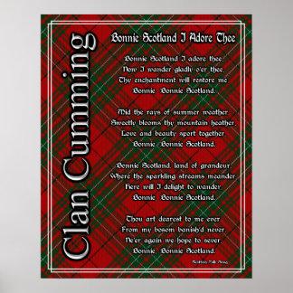 Bonnie Scotland I Adore Thee Clan Cumming Tartan Poster