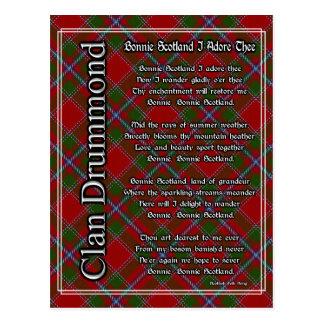 Bonnie Scotland I Adore Thee Clan Drummond Tartan Postcard