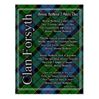 Bonnie Scotland I Adore Thee Clan Forsyth Tartan Postcard