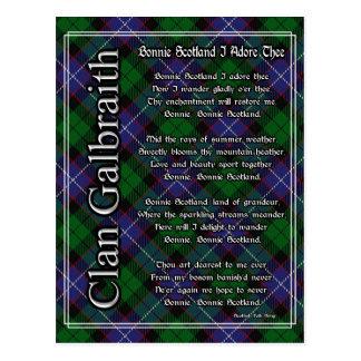 Bonnie Scotland I Adore Thee Clan Galbraith Tartan Postcard