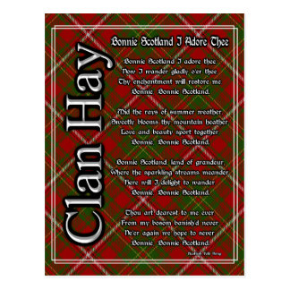 Bonnie Scotland I Adore Thee Clan Hay Tartan Postcard