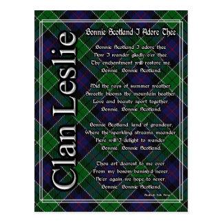 Bonnie Scotland I Adore Thee Clan Leslie Tartan Postcard