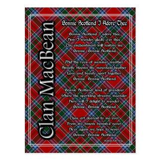 Bonnie Scotland I Adore Thee Clan MacBean Tartan Postcard