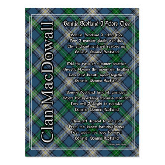 Bonnie Scotland I Adore Thee Clan MacDowall Tartan Postcard