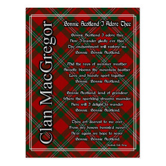 Bonnie Scotland I Adore Thee Clan MacGregor Tartan Postcard