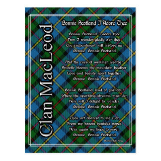 Bonnie Scotland I Adore Thee Clan MacLeod Tartan Postcard
