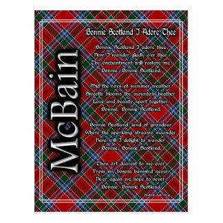 Bonnie Scotland I Adore Thee Clan McBain Tartan Postcard