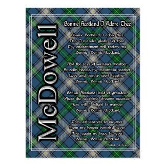 Bonnie Scotland I Adore Thee Clan McDowell Tartan Postcard