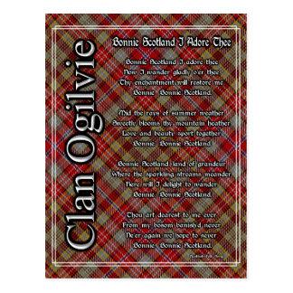Bonnie Scotland I Adore Thee Clan Ogilvie Tartan Postcard