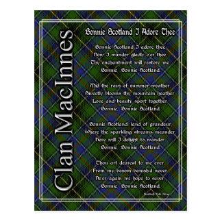 Bonnie Scotland I Adore Thee MacInnes Tartan Postcard