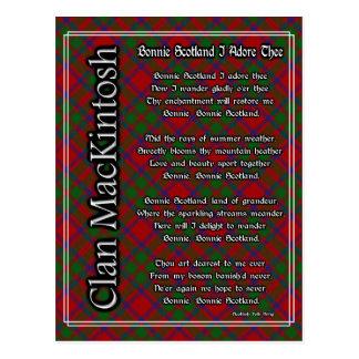 Bonnie Scotland I Adore Thee MacKintosh Tartan Postcard