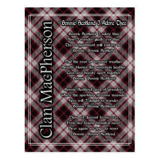 Bonnie Scotland I Adore Thee MacPherson Tartan Postcard
