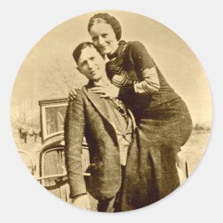 Bonnie y Clyde - la cuadrilla de la carretilla Pegatina Redonda