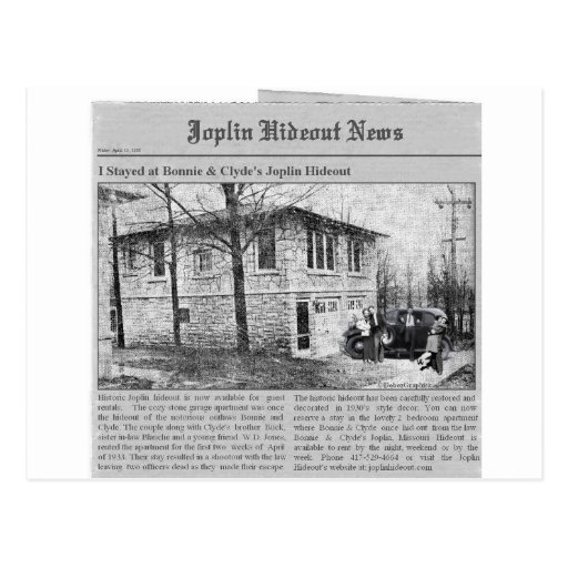 Bonnie y guarida de Joplin de Clyde Tarjetas Postales