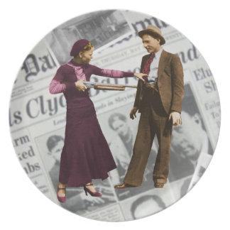 Bonnie y placa de Clyde Plato