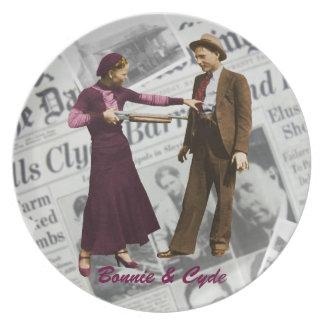 Bonnie y placa de colector de Clyde Plato De Cena