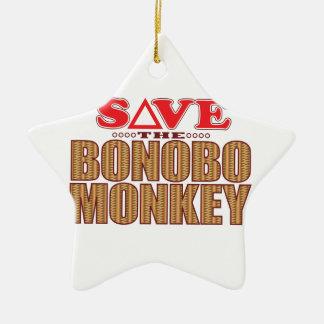 Bonobo Monkey Save Ceramic Ornament