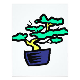 Bonsai Abstract Blue Pot Graphic Image Personalized Invites